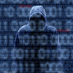 Hacker silhouette on binary codes