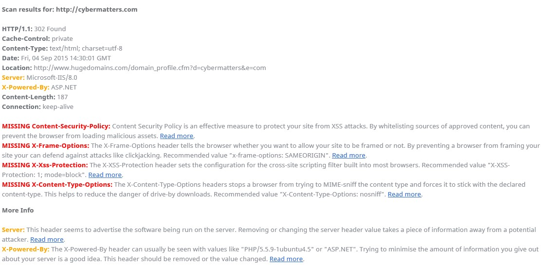 Lack of HTTP Response Headers   Cyber Matters