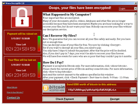 WannaCrypt ransomware demand